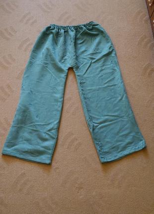 Брюки-штани зелені як самошиті на розмір 52-56 на резинці2 фото
