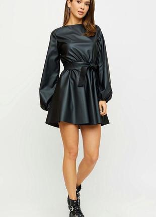 Платье из кожи, кожаное платье , черное платье1 фото