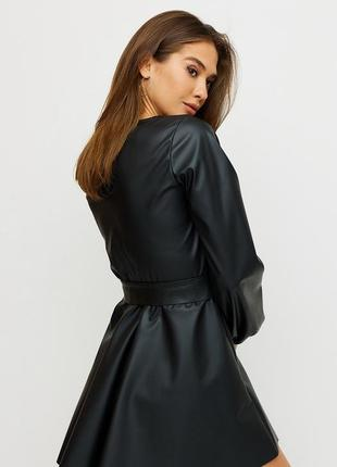 Платье из кожи, кожаное платье , черное платье3 фото