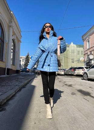 Женская стёганная куртка из эко-кожи { весна 2021}1 фото