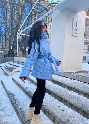Женская стёганная куртка из эко-кожи { весна 2021}3 фото