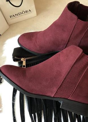 Крутые мягенькие теплые ботинки челси с резинками по бокам, цвет марсала р.39/25см.🍓💋7 фото