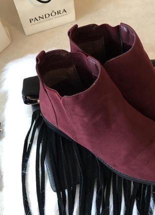 Крутые мягенькие теплые ботинки челси с резинками по бокам, цвет марсала р.39/25см.🍓💋5 фото