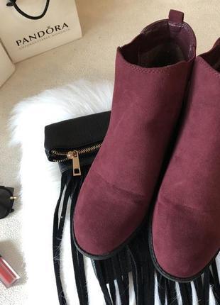 Крутые мягенькие теплые ботинки челси с резинками по бокам, цвет марсала р.39/25см.🍓💋3 фото