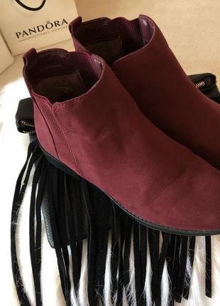 Крутые мягенькие теплые ботинки челси с резинками по бокам, цвет марсала р.39/25см.🍓💋1 фото