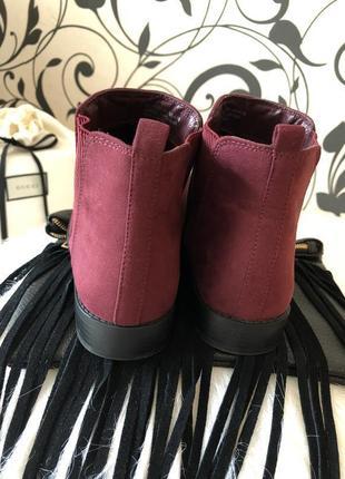 Крутые мягенькие теплые ботинки челси с резинками по бокам, цвет марсала р.39/25см.🍓💋6 фото