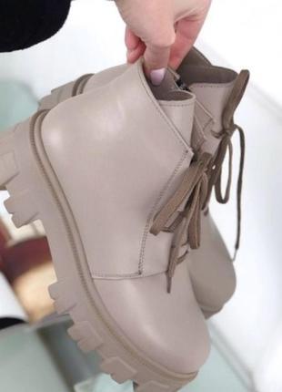 Кожаные ботинки на тракторной подошве1 фото