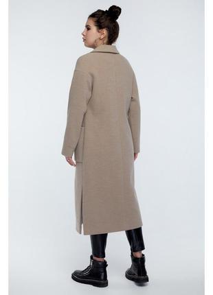 Пальто прямого кроя с карманами разрезы сбоку4 фото