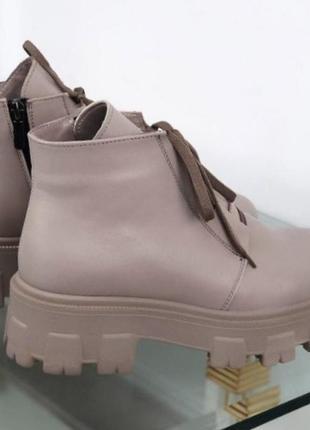 Кожаные ботинки на тракторной подошве4 фото