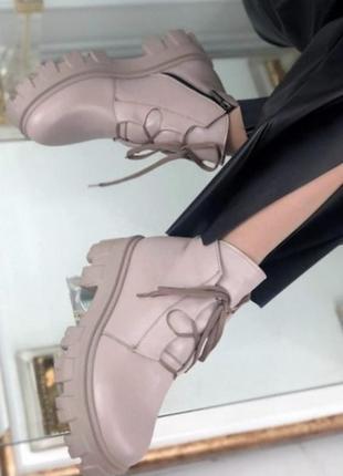 Кожаные ботинки на тракторной подошве5 фото