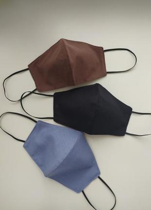 Голубая многоразовая маска1 фото