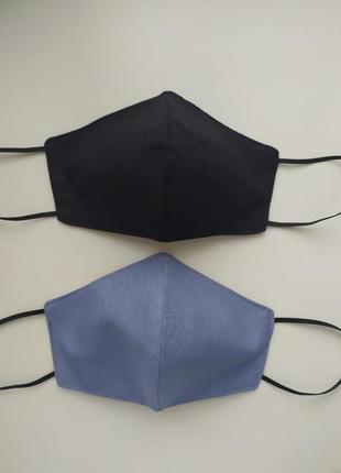 Голубая многоразовая маска5 фото