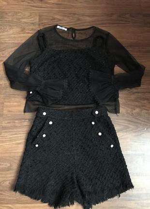 Трендовый костюм тройка ( шорты, топ и блуза) из твида