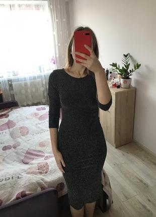 Нарядное платье миди из люрекса / люрексне плаття міді / нарядне плаття1 фото
