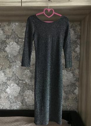 Нарядное платье миди из люрекса / люрексне плаття міді / нарядне плаття3 фото
