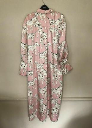 Стильное новое платье фасон рабашка, розовое на пуговках, миди с разрезами4 фото