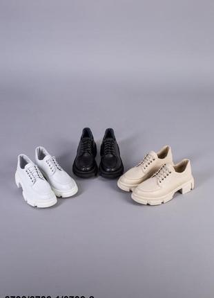 Туфлі жіночі шкіряні на шнурках без каблука1 фото