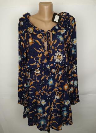 Платье новое стильное натуральное в принт s-m1 фото