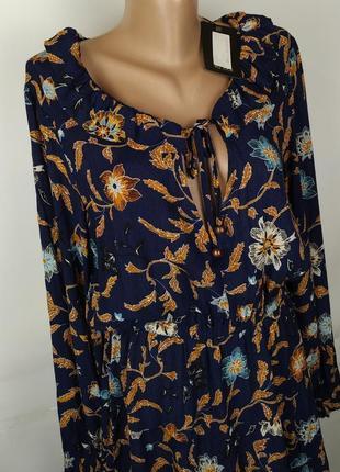 Платье новое стильное натуральное в принт s-m3 фото