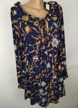 Платье новое стильное натуральное в принт s-m4 фото