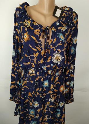 Платье новое стильное натуральное в принт s-m2 фото