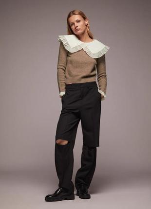 Тренд сезона свитер с накладным воротничком от zara оригинал1 фото