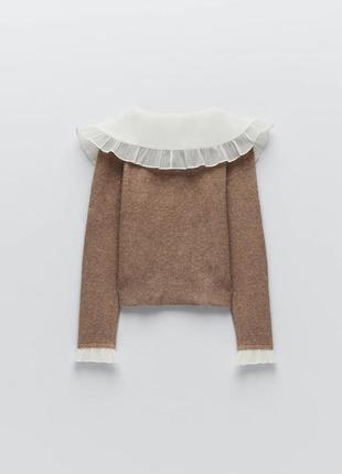 Тренд сезона свитер с накладным воротничком от zara оригинал6 фото
