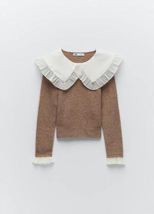 Тренд сезона свитер с накладным воротничком от zara оригинал5 фото
