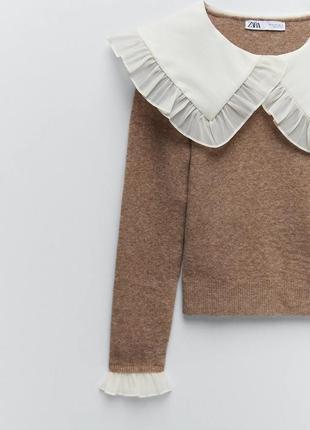 Тренд сезона свитер с накладным воротничком от zara оригинал7 фото