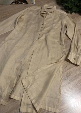 Натуральный лен стильный длинный кардиган накидка рубашка2 фото