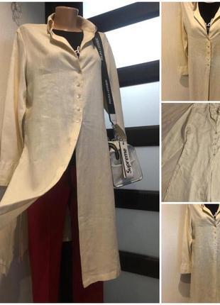 Натуральный лен стильный длинный кардиган накидка рубашка10 фото