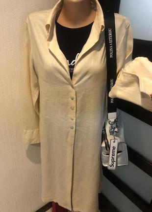 Натуральный лен стильный длинный кардиган накидка рубашка8 фото