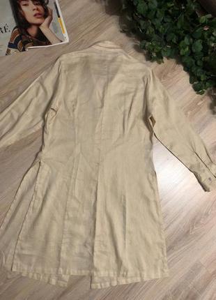 Натуральный лен стильный длинный кардиган накидка рубашка5 фото
