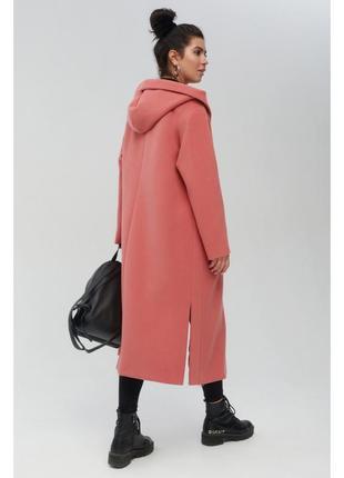 Коралловое пальто миди с капюшоном3 фото