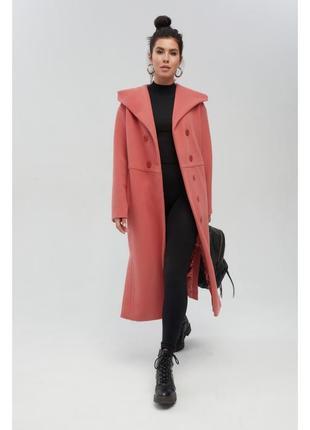 Коралловое пальто миди с капюшоном1 фото