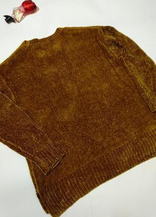 Горчичный мягкий велюровый джемпер 16/50-52 размера5 фото