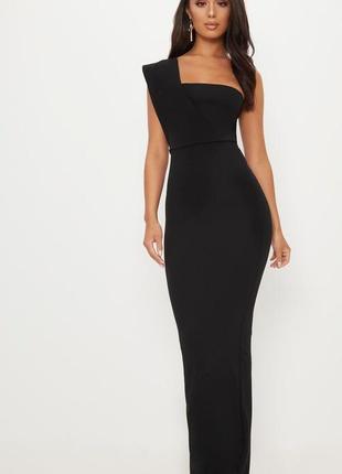 Шикарное вечернее черное платье макси на одно плечо 🔥plt🔥 длинное платье1 фото