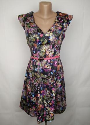 Платье красивое цветочное на пояске оригинал oasis uk 10/381 фото