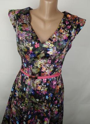 Платье красивое цветочное на пояске оригинал oasis uk 10/383 фото