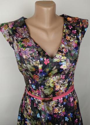 Платье красивое цветочное на пояске оригинал oasis uk 10/384 фото