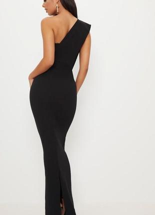 Шикарное вечернее черное платье макси на одно плечо 🔥plt🔥 длинное платье4 фото