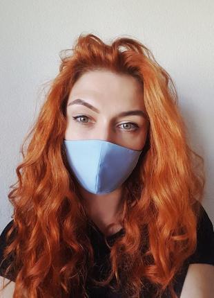 "Двусторонняя многоразовая маска ""черно-голубая ""3 фото"