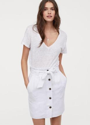 Очень стильная  льняная летняя юбка со сборками на талии