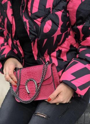Женская кожаная сумка фуксия италия клатч кроссбоди жіноча шкіряна сумка1 фото