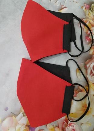 "Двусторонняя многоразовая маска ""красно-черная """