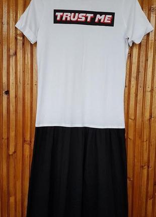 Черно-белое хлопковое платье-футболка zara с надписью
