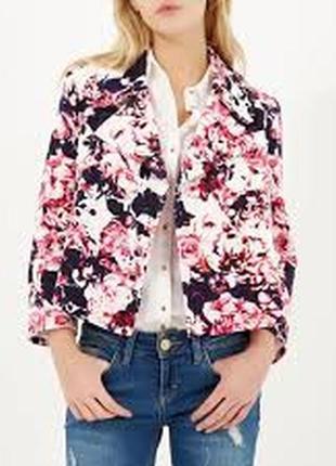Брендовый яркий пиджак жакет блейзер с карманами river island румыния принт цветы этикетка