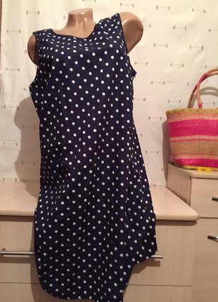 Удобное милое платье в горошек