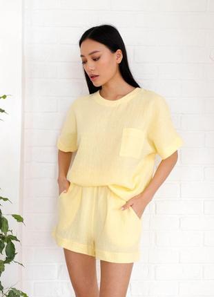 Пижама муслин жатый rina комплект футболка и шорты комплект желтый
