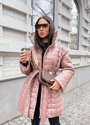 Стильная стеганная куртка из экокожи, 4 цвета